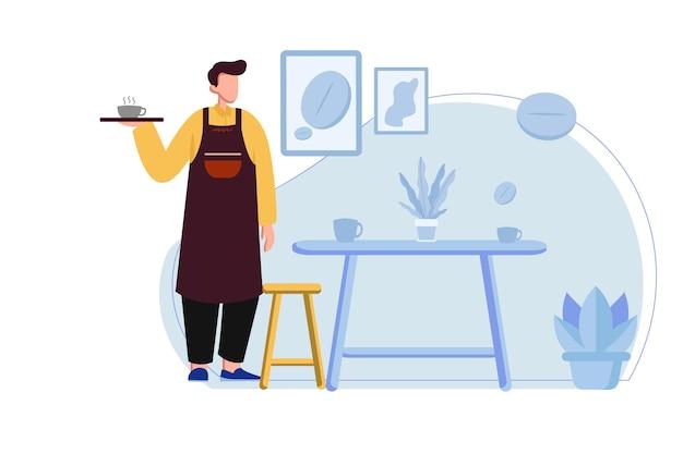 바리스타는 카페 illustrtion에서 커피를 제공합니다.