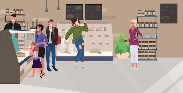 Barista serving mix race cafe visitors standing in front of counter clients ordering cakes modern cafeteria interior flat horizontal full length