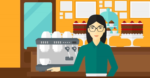 Barista standing near coffee maker.