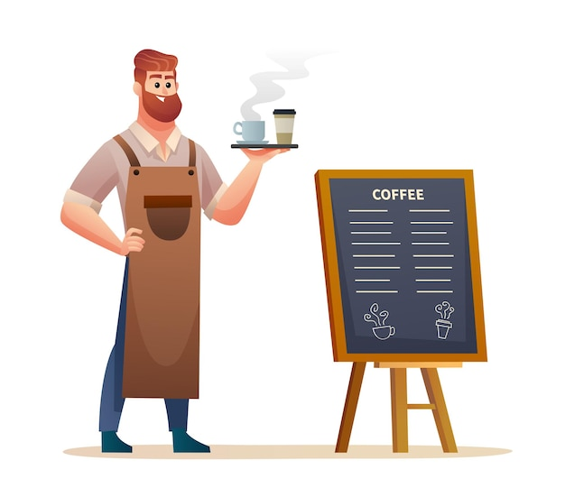 Barista standing near menu board while carrying coffee with tray illustration