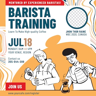 Barista training event poster design template
