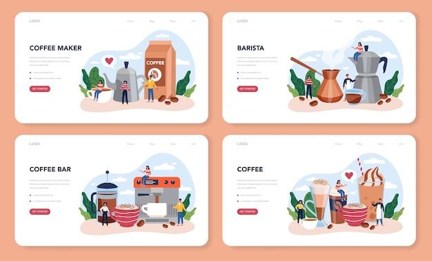 バリスタのウェブレイアウトまたはランディングページセット。ホットコーヒーのカップを作るバーテンダー。ミルクと一緒に朝食にエネルギッシュでおいしい飲み物。アメリカーノとカプチーノ、エスプレッソとモカ。