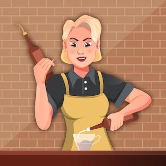 ドリンクレシピ-漫画イラストを調合バリスタ女性