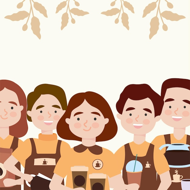 Baristas with coffee drinks illustration