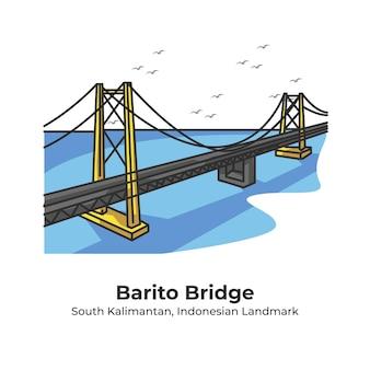 Barito bridge indonesian landmark cute line illustration