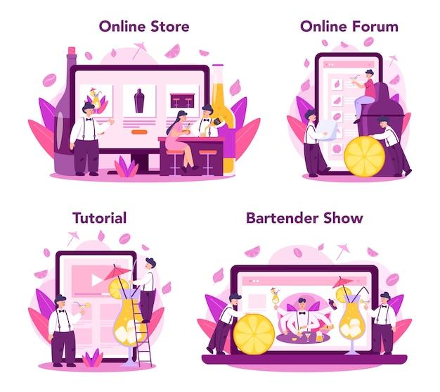 バーテンダーのオンラインサービスまたはプラットフォームセット。オンラインストア、チュートリアル、ショー、フォーラム。バーテンダーがバーカウンターに立ち、カクテルを混ぜる。