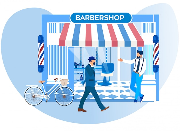 Barker inviting pedestrians come to new barbershop