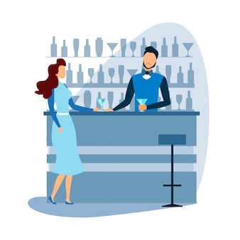 Barman at bar offer cocktail to female visitor