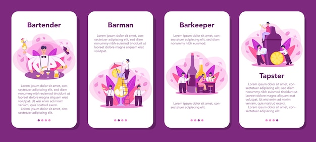Barman mobile application banner set. barkeeper preparing alcoholic drinks with shaker at bar. bartender standing at bar counter, mixing cocktail.