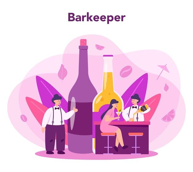 Бармен готовит алкогольные напитки с шейкером в баре