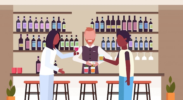 Barman in uniform pouring drink in glasses bartender making cocktails and serving african clients drinking alcohol at bar counter modern restaurant interior flat horizontal portrait vector illustratio