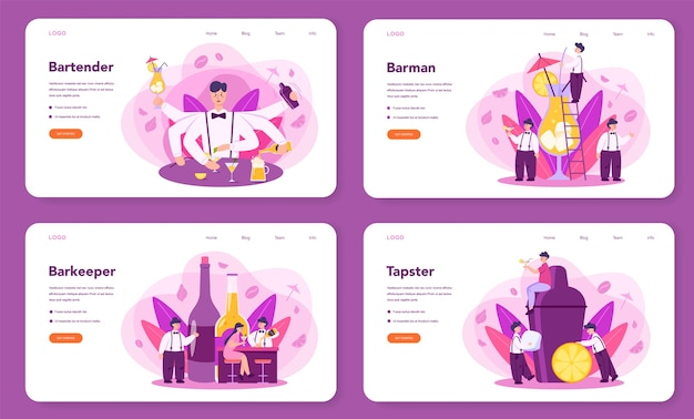 Barman web landing page set. barkeeper preparing alcoholic drinks with shaker at bar. bartender standing at bar counter, mixing cocktail. isolated flat vector illustration