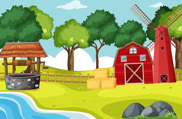농장 현장에서 헛간과 widmill