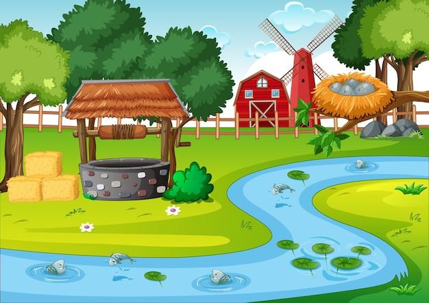 農場シーンの納屋とwidmill