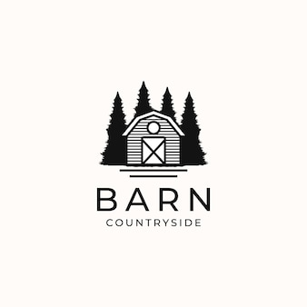 Barn countryside vintage concept logo template isolated in white background