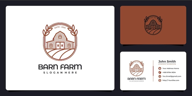 納屋農場のモノラインロゴと名刺