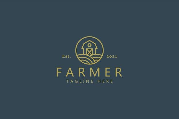 부드러운 녹색에 고립 된 헛간 농부 로고