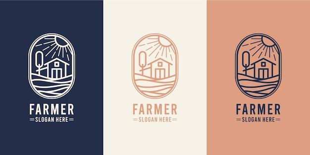 納屋農業モノラインロゴデザイン