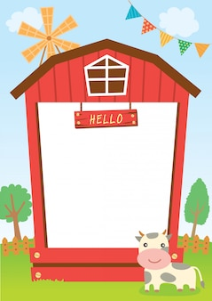 Barn frame with cow