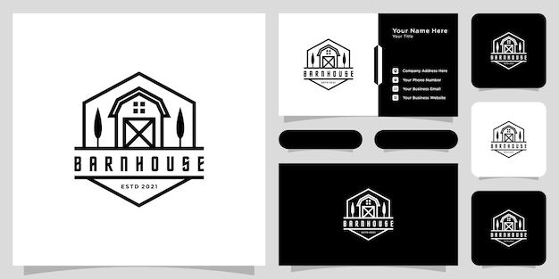 納屋の家のロゴのベクトルデザインエンブレムラインスタイルと名刺 Premiumベクター