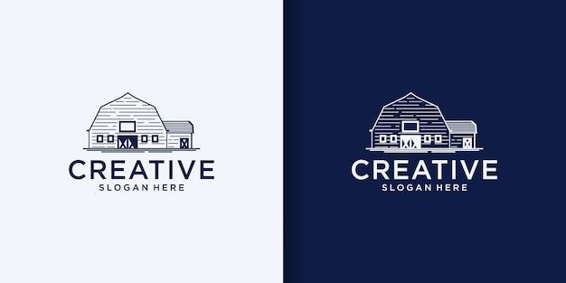 納屋のロゴのベクトルイラストデザイン