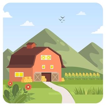 納屋の山のイラスト風景青い空の背景