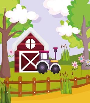 納屋トラクターフェンス花植物木ファーム動物漫画イラスト