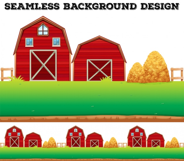 Barns and haystack on farm