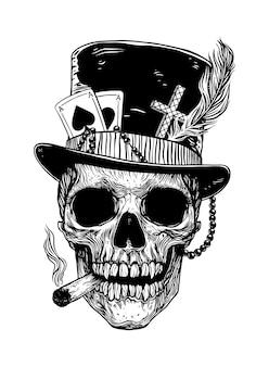 Baron samedi skull veve loa voodoo wedo. papa legba. vector illustration