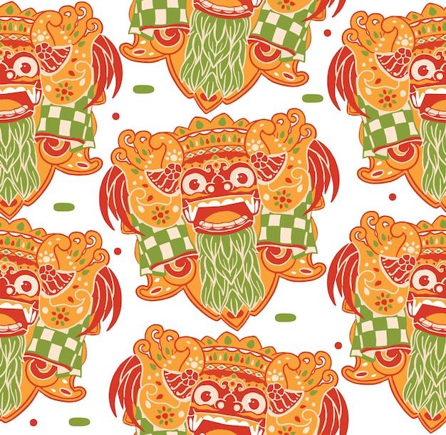 Barong bali seamless pattern in flat design style
