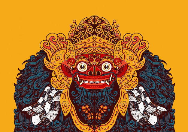 Barong of balinese illustration