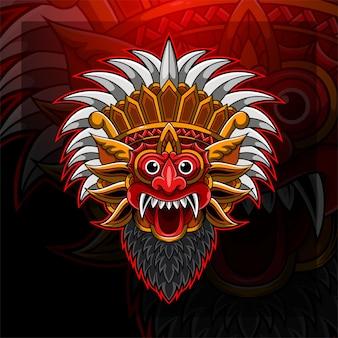 Дизайн логотипа талисмана киберспорта barong head