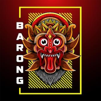 Логотип талисмана barong head esport