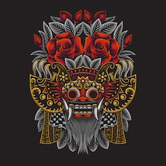 Barong illustration of indonesian balinese culture