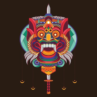 Barong indonesian mask illustration