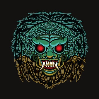 Barong mask illustration