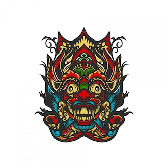 Barong mask with hand drawn illustration
