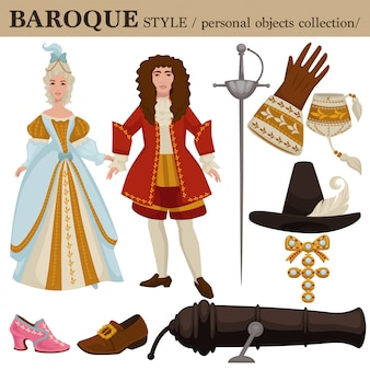 Baroque or 17 century european old retro fashion style of man and woman clothes garments and personal accessories.