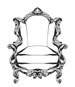 Baroque armchair line art