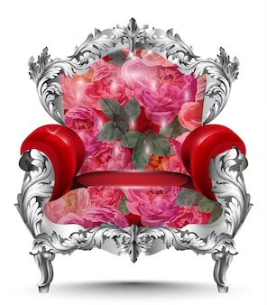Baroque armchair silver ornament. vintage furniture rich carved decor. red roses upholster