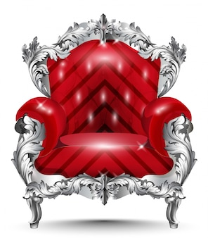 Baroque armchair silver ornament. vintage furniture rich carved decor. red upholstery vect