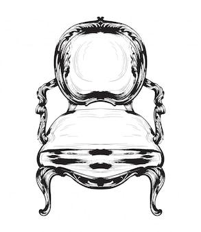Baroque chair line art