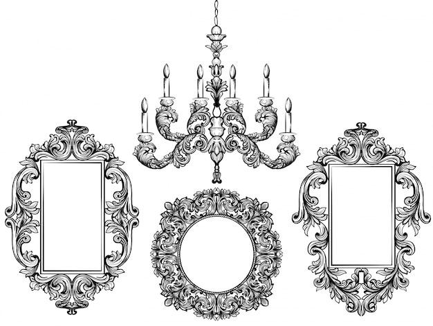 바로크 식 샹들리에와 거울 프레임. 자세한 풍부한 장식 벡터 일러스트 그래픽 라인 아트