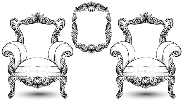 Baroque elegant armchair and frame set on white background