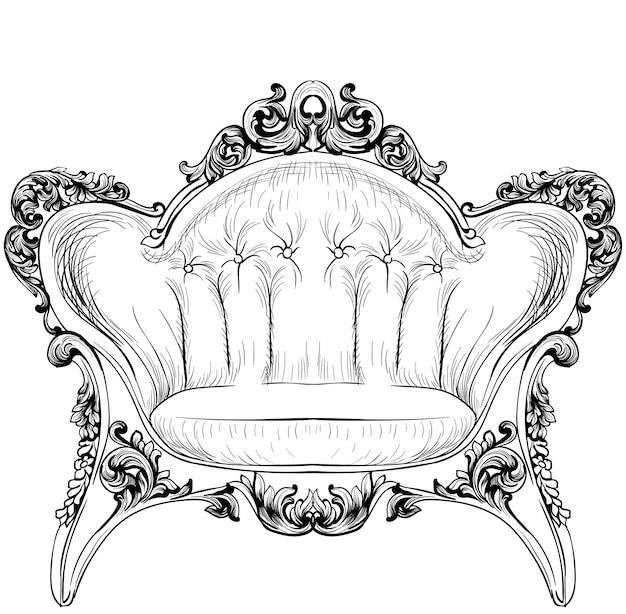 Барокко элегантный кресло, изолированных на белом фоне