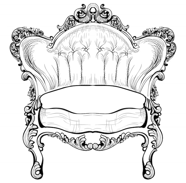 Baroque elegant armchair isolated on white background