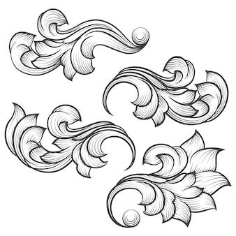 Baroque engraving leaf scroll