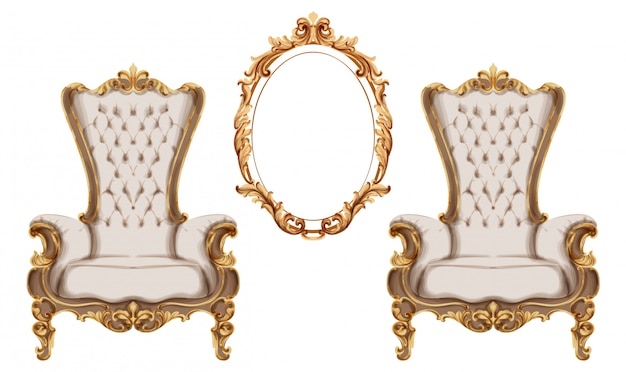 Baroque furniture set watercolor