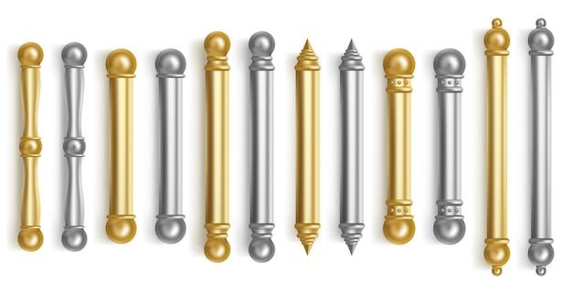 Baroque gold door handles for room interior in office or home