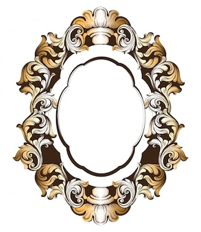 Baroque golden mirror frame